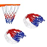 wolike 2Pcs 12Schlaufen Basketball Net Weiß/Rot/Blau Nylon Net LW001