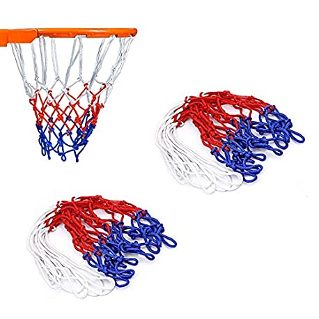 wolike 2 pcs 12 Loops Baloncesto Net Blanco Rojo Azul Nylon Net LW001