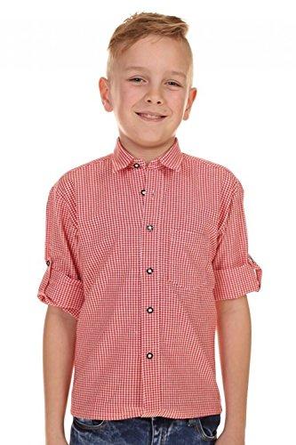 Preisvergleich Produktbild Kinder Trachtenhemd Martin Rot Weiß kariert Gr. 140