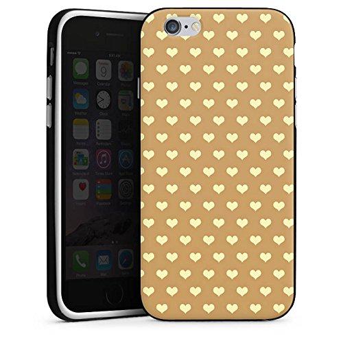 Apple iPhone 5s Housse Étui Protection Coque Petit c½ur Beige Polka Housse en silicone noir / blanc