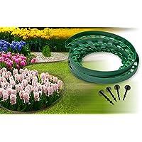 Césped delimitadores Chris Pol Sistema–para Bancal redondo Césped macizos–10M largo 4cm de alto–mähkante flexible de plástico + 6Fijación clavos por metro, verde