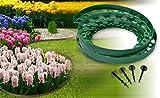 Rasenkante Grün 10m Chrispol System - Beeteinfassung rund - 10 Meter lang 4 cm hoch - Beetumrandung Mähkante aus flexiblem Kunststoff - inkl. 6 Befestigungsnägel pro Meter - praktische Raseneinfassung