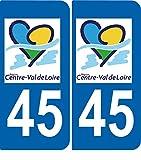SAFIRMES 2 Autocollants de Plaque d'immatriculation Auto 45 Centre-Val de Loire - Région