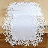 Tischläufer 40 x 140 cm edle Makramee Spitze weiß Macramée Borte Tischdecke Tischdekoration Typ524
