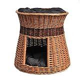 GalaDis 2-31-3 Katzenhöhle/Katzenkorb aus Weide Zwei Kissen. Ein Katzenturm für Ihre Katze Zum Ruhen und Spielen