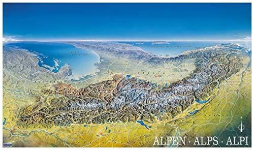 KOMPASS Panorama die Alpen von Norden: von Marseille bis Wien, Alpenpanorama, Poster (KOMPASS-Panoramakarten, Band 349) Panorama-karte
