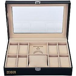 ZEIGER Uhrenkasten Uhrenbox Schmuckbox Uhren Aufbewahrung Schwarz Elegant Schmuckkästchen für 10 Uhren mit verschiedenen Größe S001