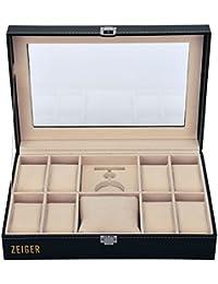 ZEIGER Uhrenkasten Uhrenbox Aufbewahrungsbox Schmuckbox Uhren Aufbewahrung Schwarz Elegant Schmuckkästchen für 10 Uhren mit verschiedenen Größe S001