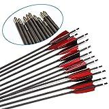 VERY100 Carbonpfeile für Bogenschießen 32 Zoll Pfeil und Bogen 6MM für Compound und Recurve Bogen 30-45 lbs