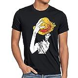 style3 Rufy Cappello di Paglia T-Shirt da Uomo, Dimensione:M;Colore:Nero