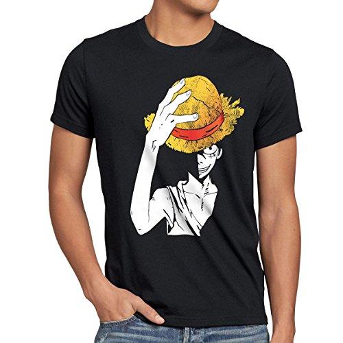 style3 Luffy Sombrero Camiseta para Hombre T-Shirt, Talla:M;Color:Negr