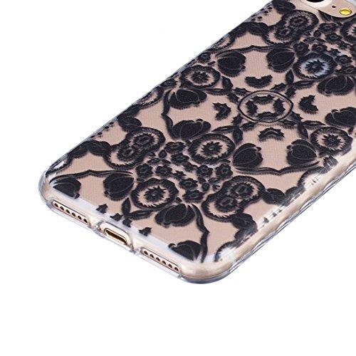 Pheant® [4 in 1] Apple iPhone 7 (4.7 pouces) Coque Gel Étui Housse de Protection Transparent Cas avec Verre Trempé Protecteur d'écran Stylet Bouchon Anti Poussiere Motif Noire
