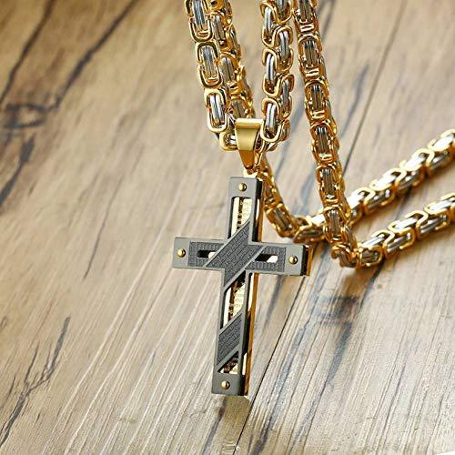 ERDING Halskette Schmuck/Geschenke/Kreuz Halskette Für Männer Byzantinisches Gold Silve Edelstahl Kette Katholisches Kruzifix Anhänger Männliche Rock Ornamente