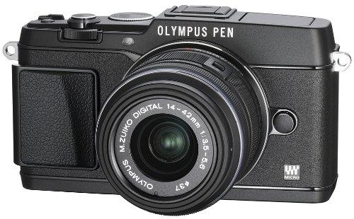 Olympus E-P5 Systemkamera inkl. 14-42mm Objektiv (16 Megapixel MOS-Sensor, True Pic VI Prozessor, 5-Achsen Bildstabilisator, Verschlusszeit 1/8000s, Full-HD) schwarz Olympus Mini Digital