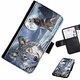 Hairyworm- Wölfe Samsung Galaxy S7 (G930, G930F, G930FD, Samsung Galaxy S7 Duos with dual-SIM card slots) Leder Klapphülle Etui Handy Tasche, Deckel mit Kartenfächern, Geldscheinfach und Magnetverschluss.