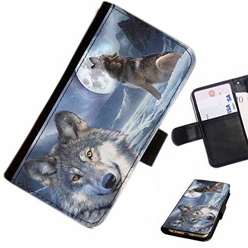 Hairyworm- Wölfe Blackberry 9720 Leder Klapphülle Etui Handy Tasche, Deckel mit Kartenfächern, Geldscheinfach und Magnetverschluss.