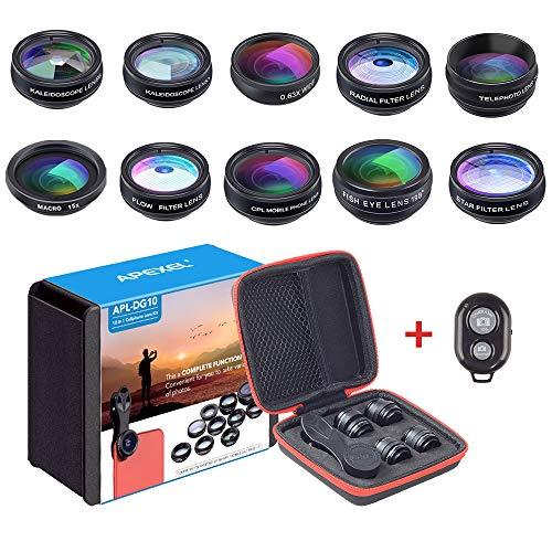 APEXEL 10 in 1 Kameraobjektiv Weitwinkel&Macro Objektiv+Fisheye Objektiv+ Teleobjektiv/CPL/Flow/Radial/Sternfilter+Kaleidoskopobjektiv+Bluetooth Shutter für iPhone Samsung und die meisten Smartphone