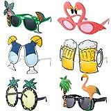 Czemo 6 Paia Occhiali da Sole per Festa Hawaiian Tropicale Occhiali a Forma di Ananas Decorazione per Vestito Costume Festa Accessorio