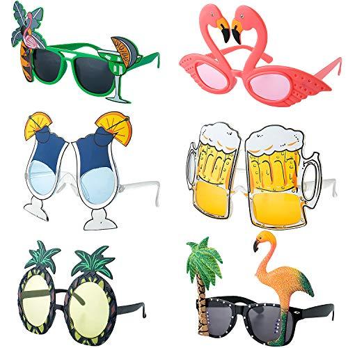 Hawaiian Jungen Kostüm Für - Czemo 6 Paar Party Sonnenbrillen Hawaiian Tropical Brillen Flamingo Ananas Sonnenbrille Lustige Kostüm Sonnenbrille für Sommer Kostüm Party