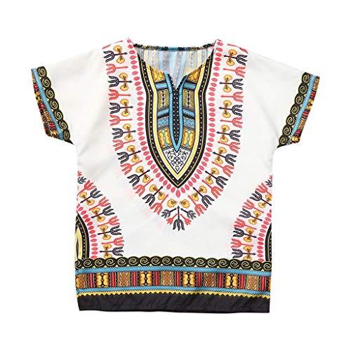 Obestseller Jungenbekleidung,Jungen Mädchen Kinder Baby Unisex helle afrikanische Farbe Kind T Shirt Tee Tops Ethnische Windbluse,Sommerkleidung,Unisex - Größe 5 Jungen Kleidung