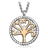 PAULINE & MORGEN Tree of Life Necklace for Women with Crystal from SWAROVSKI Gold Plated Gift for Mother