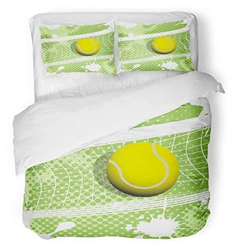 3 Stück Bettbezug-Set atmungsaktiv gebürstet Mikrofaser Stoff blau Net Tennis grün Ball Gericht Spielen Sport abstrakte Wettbewerb Kräuter Bettwäsche mit 2 Kissenbezüge Full/Queen-Size