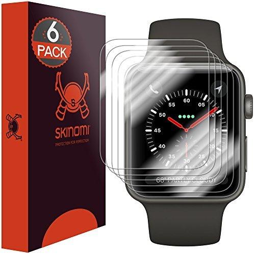 Skinomi TechSkin, Schutzfolie für Apple Watch (42 mm). Kompatibel mit Apple Watch Series 3, Series 2 und Series 1. Wasserdicht, 6er Pack