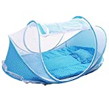 Ruikey Moskitonetz zusammenklappbar Baby Zelt tragbar Baby Krippe für 0-18 Monate Babys, blau, 110 x 65 x 60 cm
