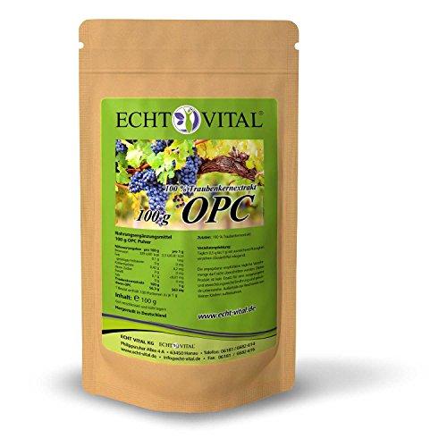 ECHT VITAL OPC Traubenkernextrakt Pulver 100 g | 100 {19983bd57ffd3a787d3948789c572dbcd68acdeaf4660e007f3e3c202ae4eef9} Premium OPC Pulver aus französischen Traubenkernen | Hochdosiert mit garantiertem OPC Mindestgehalt (HPLC) | Reines OPC Extrakt, vegan | Hergestellt in Deutschland