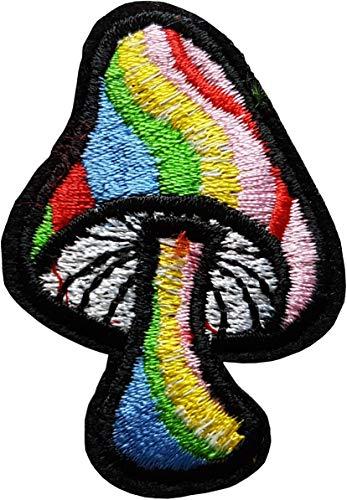 5,9x 4,1cm Seta alucinógeno Arco Cielo Patch Rainbow Gay Pride Escudo Tela termoadhesiva Cameleon-Shop