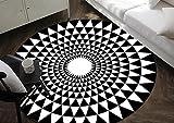 ZHDC® Teppich, europäischer Stil Persönlichkeit moderne Geometrie Schild Teppich England Runde Wohnzimmer Schlafzimmer Nachttisch Teppich Computer Kissen Weich und bequem ( Farbe : Schwarz , größe : Diameter 100cm )