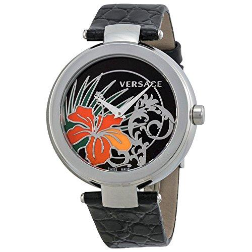 Versace Mystique blackr Hibiscus cadran noir Montre en cuir Mesdames 19q99d9hi-s009