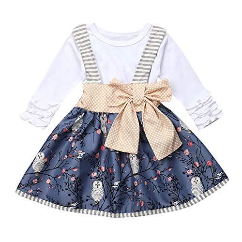 Ensemble Bébé Binggong 2PCS Vêtements de Bébé Robe Bébé Fille Long Sleeve [ Floral ] Barboteuse et Jupe Bébé Costume Binggong vêtements bébé