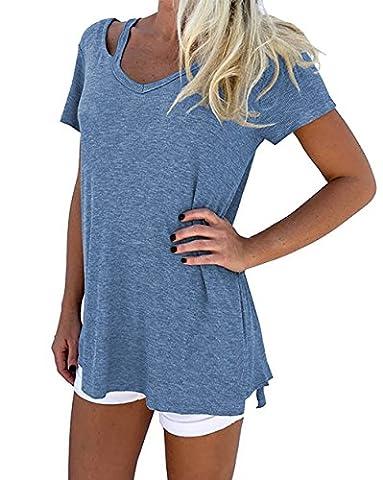 T-shirt Col V Femme - T shirt Femme Manches Courte Causal Coton