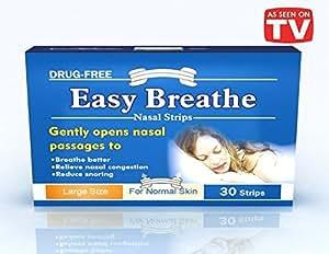 Easy Breathe Natural Nasal Strips - Large Size (30 Strips) ** Drug Free** Reduce Snoring