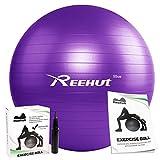 Reehut, palla anti-scoppio per esercizio fisico del tronco, con pompa e manuale (lingua italiana non garantita), per yoga, esercizi di equilibrio, allenamento, fitness, Purple, 55 cm