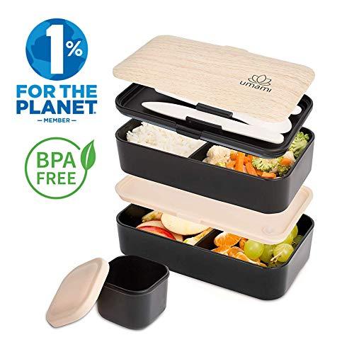 Umami Bento Original Schwarz -Lunchbox Mit 2 LuftdichtenFächern Plus 3-Teiligem, RobustenBesteck |Geeignet Für Erwachsene Und Kinder|Spülmaschinen- Und Mikrowellenfest Bento-box