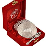 Diwali Gifts | Diwali Décor For Home | Silver Polished Apple Shape Brass Bowl N Spoon 272
