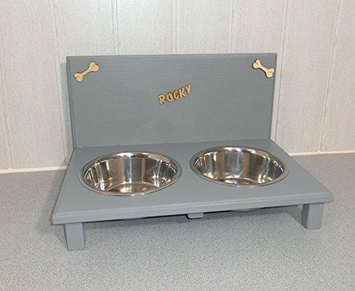 Futternapf / Hundenapf für Ihren Vierbeiner, tolle Futterbar mit 2 Edelstahlnäpfen mit je 750 ml. Handgefertigtes Hundezubehör und Tierbedarf. Lackierung in hell-grau mit Wunschname! (3P11t)