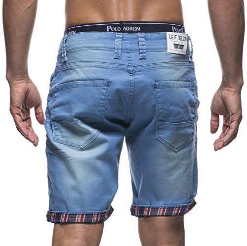 LEIF NELSON Herren Jeans Shorts LN1399-2826 Blau