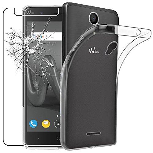 ebestStar - Wiko Harry Hülle Handyhülle [Ultra Dünn], Durchsichtige Klar Flex Silikon Schutzhülle, Transparent + Panzerglas Schutzfolie [Phone: 145 x 72.7 x 9.15mm, 5.0'']