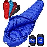 Hyke & Byke Quandary Saco de Dormir Momia -10 Grados C Ultraligero - Saco de Dormir con Plumón y Bolsa de Compresión Liviana para ir de Excursión y Mochilero - Cinco (5) Opciones de Color (Azul, Corto)