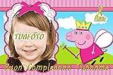 WFWD Cialda in Ostia per Torta Rettangolare Peppa Pig Personalizzata con Foto, George, cialde, ostie, Torte, Topper, Mis. in cm 20x30