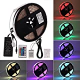 Roleadro LED Light Strip 5050 RGB Full Kit with Power Supply and 24 Key IR Controller and Fixed Clip Waterproof IP65 LED Strip Colour Changing 12V LED Ribbon for Home Kitchen Lighting Cabinet DIY Decoration