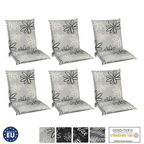 Beautissu 6er Set Floral Niedriglehner Auflagen für Gartenstühle 100x50 cm - Bequeme Gartenstuhl Stuhlkissen Polsterauflagen UV-Lichtecht