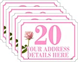 SET of 4 (A6 = 148MM X 105MM) ROSE FLOWER Personalised wheelie bin stickers (4 Pack) printed with your street, road or house name (A6)(new FLOWER DESIGN) (ROSE)
