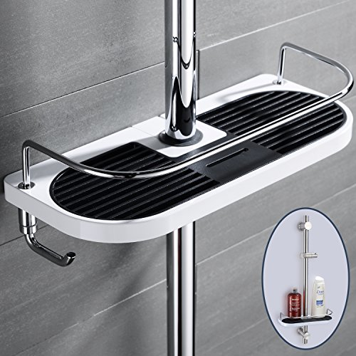 Estantería de Baño Ducha con ganchos PARA guarda champú, acondicionador, jabón (Cuerpo del ABS y Guardrail del acero inoxidable)