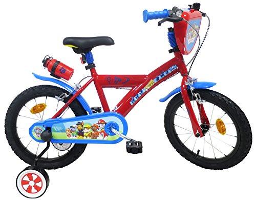Paw Patrol - Bicicleta Infantil de 16 Pulgadas, diseño de la Patrulla Canina, 2 Frenos, Multicolor