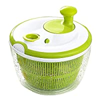 JmeGe Salad Spinner and Vegetables Dryer Quick Dry Design BPA Free Dry Off & Drain Lettuce and Vegetable -4.5 Quart Large Capacity & Dishwasher Safe(Green)