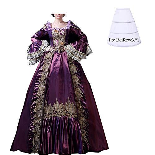 Benutzerdefinierte Viktorianischen Kostüm - NSPSTT Damen Satin Viktorianisches Kleid Klassisch Renaissance Mittelalter Kostüm S-3XL